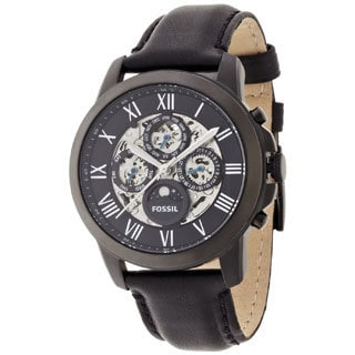 Fossil Men's Grant ME3028 Black Leather Automatic Watch