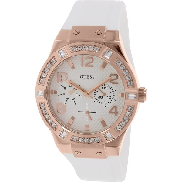 GUESS Women's U0426L1 White and Rose Gold-Tone Standout Sparkle Watch
