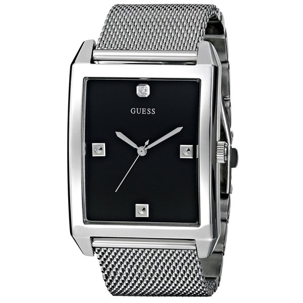 GUESS Men's U0279G1 Rectangular Silver-Tone Diamond Accented Mesh Watch