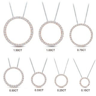 Auriya 14k Rose Gold Diamond Circle Necklace (H-I, SI1-SI2)