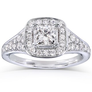 Annello 14k White Gold 1ct TDW Princess-cut Halo Diamond Engagement Ring (H-I, I1-I2)