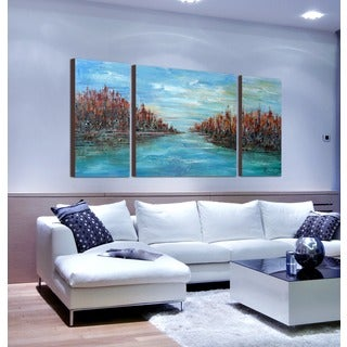 Hand-painted 'Misty River 566' 3-piece Gallery-wrapped Canvas Art Set