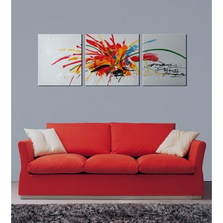Hand-painted 'Abstract569' 3-piece Gallery-wrapped Canvas Art Set