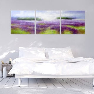 Hand-painted 'Breath of the wind' 3-piece Gallery-wrapped Canvas Art Set