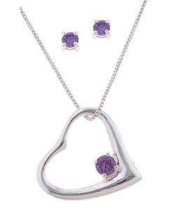 Icz Stonez Silver Purple CZ Earring and Heart Pendant Set