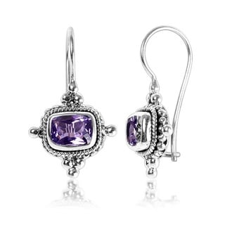 Sterling Silver Bali Faceted Rectangle Amethyst Gemstone Dangle Earrings (Indonesia)