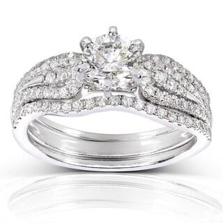 Annello 14k White Gold 1 1/5ct TDW 3-Piece Diamond Bridal Set (H-I, I1-I2)
