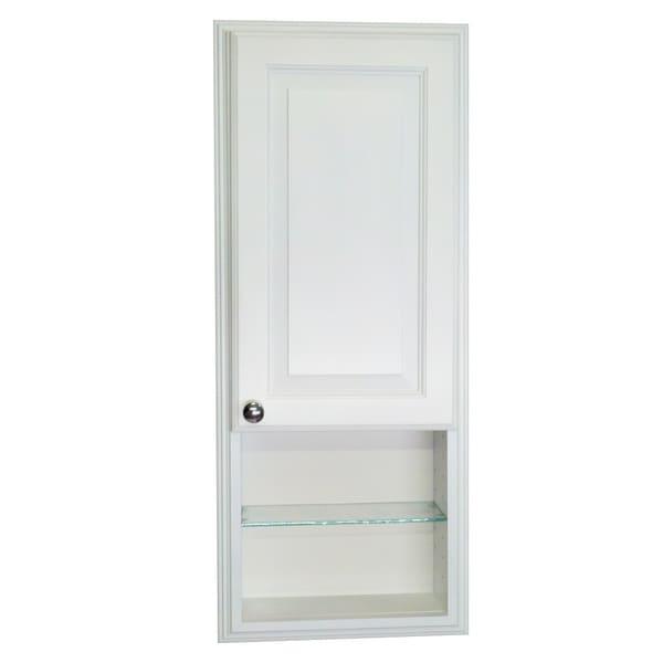 36-inch Recessed White Plantation Medicine Storage Cabinet with 12-inch Open Shelf