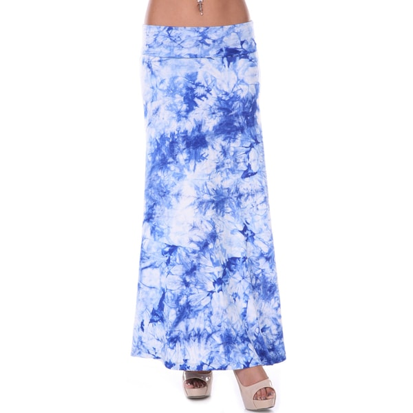 White Mark Women's Blue Tie-dye Maxi Skirt