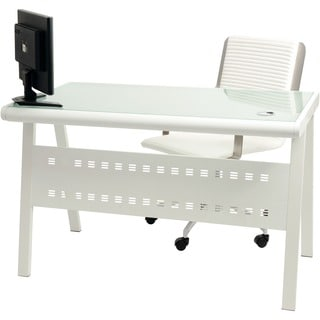Wynter White Metal Frosted Glass Computer Desk