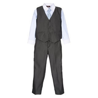 James Morgan Boy's Grey and Light Blue 4-piece Vested Set (Size 8-14)