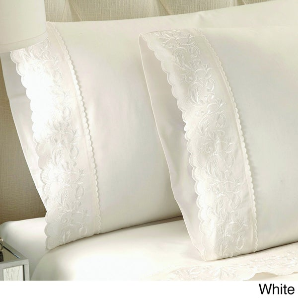 Jasmine Embroidered 100-percent Cotton 250 Thread Count Sheet Set