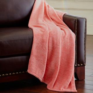 Heathered Solid Fleece Throw Blanket
