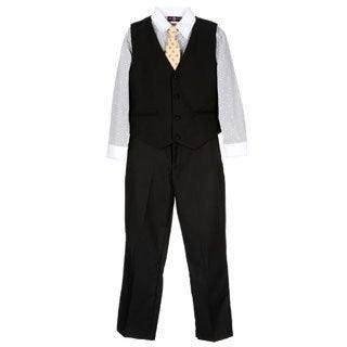 James Morgan Boys Black 4-piece Vested Set (Size 8-14)