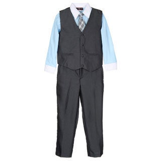 James Morgan Boys Blue and Grey 4-piece Vested Set (Size 8-14)