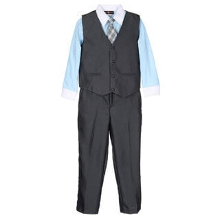 James Morgan Boys Blue and Grey 4-piece Vested Set (Size 4-7)