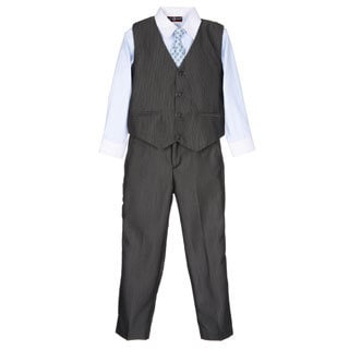 James Morgan Boys Light Blue and Grey 4-piece Vested Set (Size 4-7)