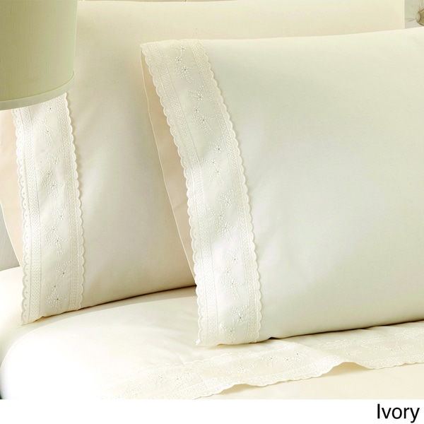 Sylvia Embroidered 100-percent Egyptian Cotton 250 Thread Count Sheet Set