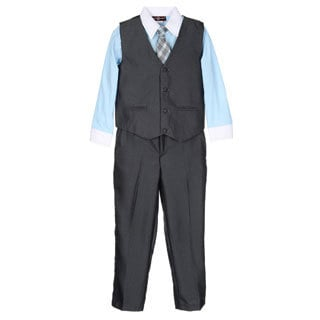 James Morgan Toddler Boys Blue and Grey 4-piece Vested Set