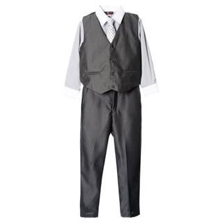 James Morgan Boys Grey 4-piece Vested Set (Size 8-14)