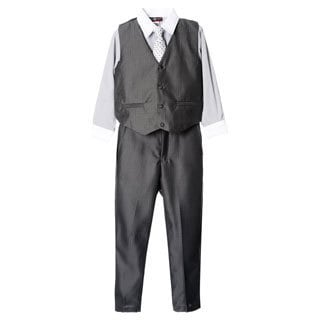 James Morgan Boys Grey 4-piece Vested Set (Size 4-7)