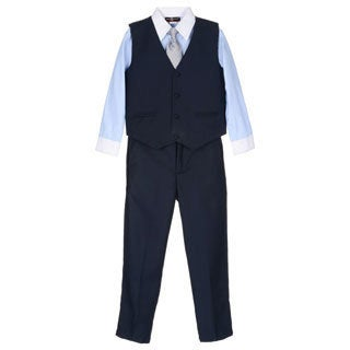 James Morgan Boys Blue and Navy 4-piece Vested Set (Size 4-7)