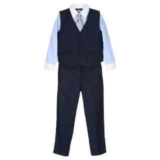 James Morgan Toddler Boys Navy and Blue 4-piece Vested Set