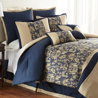 Amanda Blue Damask 8-piece Comforter Set