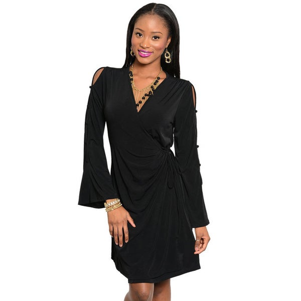 Stanzino Women's Long-sleeve Short Wrap Dress