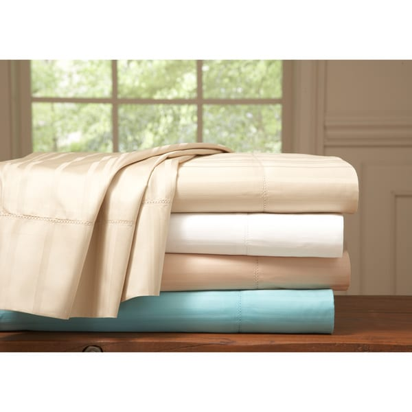 Pointehaven 510 Thread Count Stripe Sateen Pima Cotton Deep Pocket Sheet Set and Pillowcase Separates