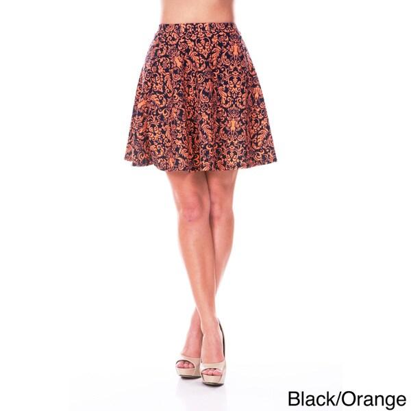 White Mark Women's Floral Flare Mini Skirt