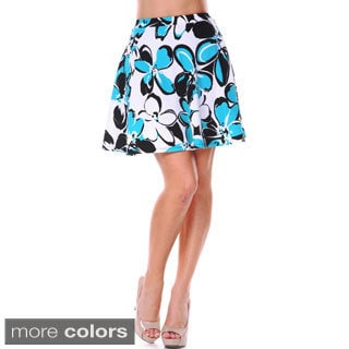 White Mark Women's Large Floral Print Flare Skirt