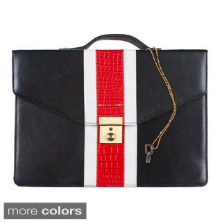 Leather iPad Briefcase with Lock and Key