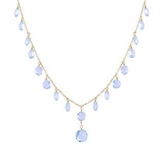 14ky Gold Round-cut Blue Topaz Necklace
