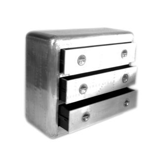 Aero 3-drawer Silver Chest Nightstand