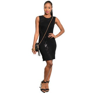 Stanzino Women's Sleeveless Black Sequined Party Dress
