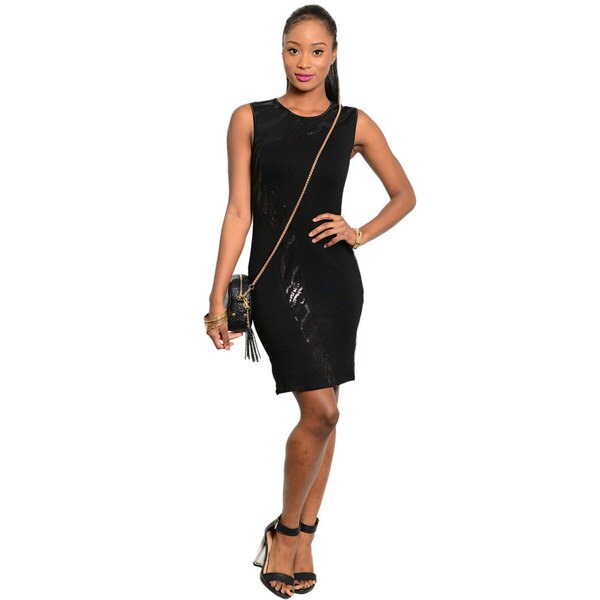 Stanzino Women's Sleeveless Black Sequined Party Dress