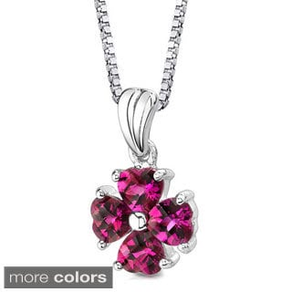 Oravo Sterling Silver Four Heart-shaped Gemstone Pendant