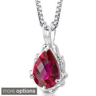 Oravo Sterling Silver Pear-shaped Gemstone Pendant