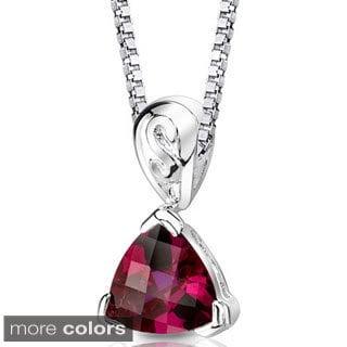 Oravo Sterling Silver Trillion-cut Gemstone Pendant