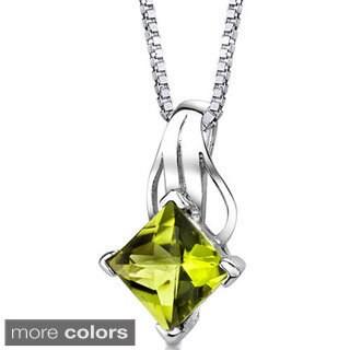 Oravo Sterling Silver Princess-cut Gemstone Pendant