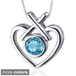Oravo Sterling Silver Round Gemstone Heart Cross Pendant