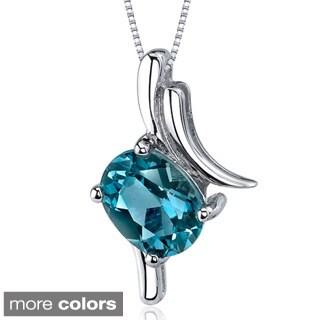 Oravo Sterling Silver Oval-shaped Gemstone Pendant