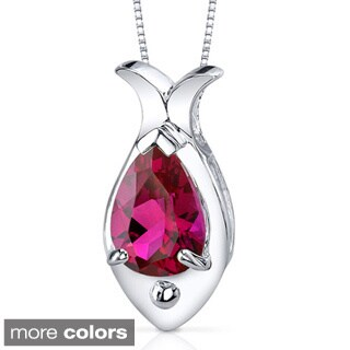 Oravo Sterling Silver Prong-set Pear Gemstone Pendant