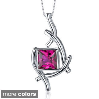 Oravo Sterling Silver Princess-cut Gemstone Abstract Necklace