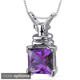 Oravo Sterling Silver Princess-cut Gemstone Box Necklace