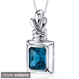 Oravo Sterling Silver Radiant-cut Gemstone Rectangular Necklace
