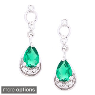 Oravo Sterling Silver Pear-cut Gemstone Earrings