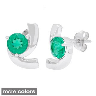 Oravo Sterling Silver Round Shape Gemstone Stud Earrings