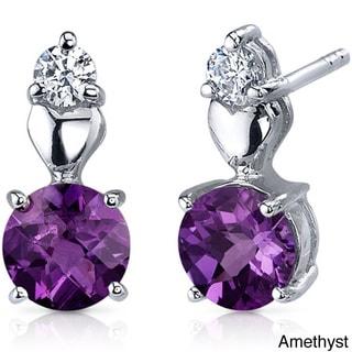 Oravo Sterling Silver Round-cut Gemstone Stud Earrings